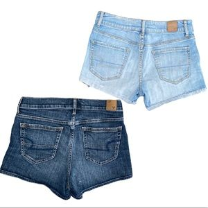 Two denim Jean shorts blue and black